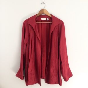 Chico's Open Front Wine Red Jacket Large